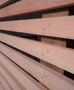 Contemporary Slatted Open Joint Hardwood Fencing